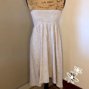 Anthropologie Smocked Tube Top Gray Dress SzS